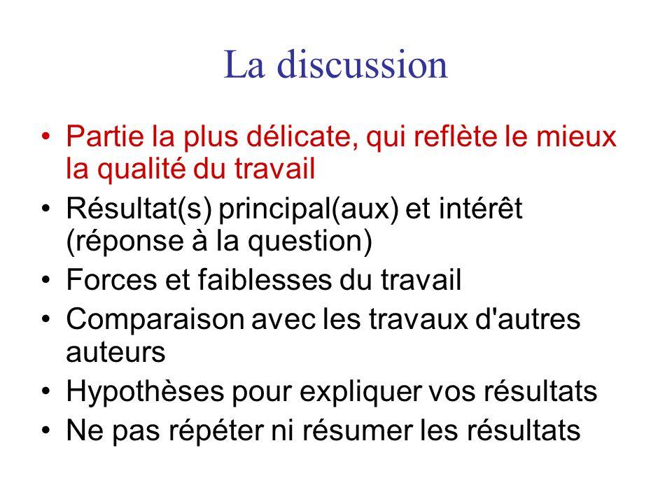 La discussion •Partie la plus délicate, qui reflète le mieux la qualité du travail •Résultat(s) principal(aux) et intérêt (réponse à la question) •For