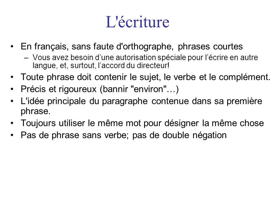 L'écriture •En français, sans faute d'orthographe, phrases courtes –Vous avez besoin d'une autorisation spéciale pour l'écrire en autre langue, et, su