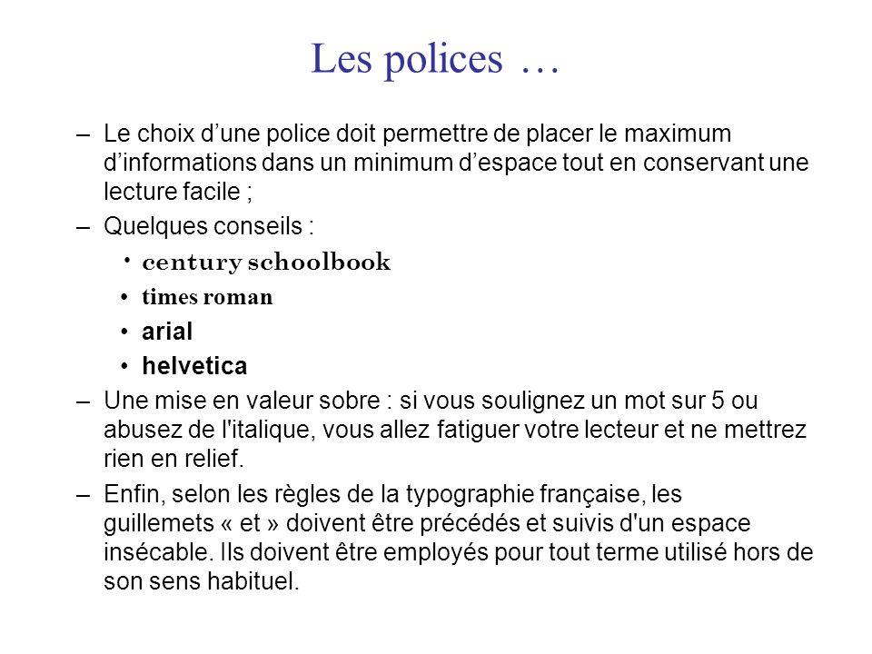 Les polices … –Le choix d'une police doit permettre de placer le maximum d'informations dans un minimum d'espace tout en conservant une lecture facile