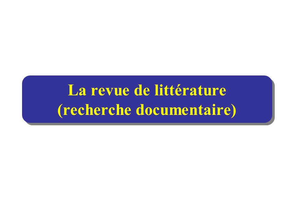 La revue de littérature (recherche documentaire)
