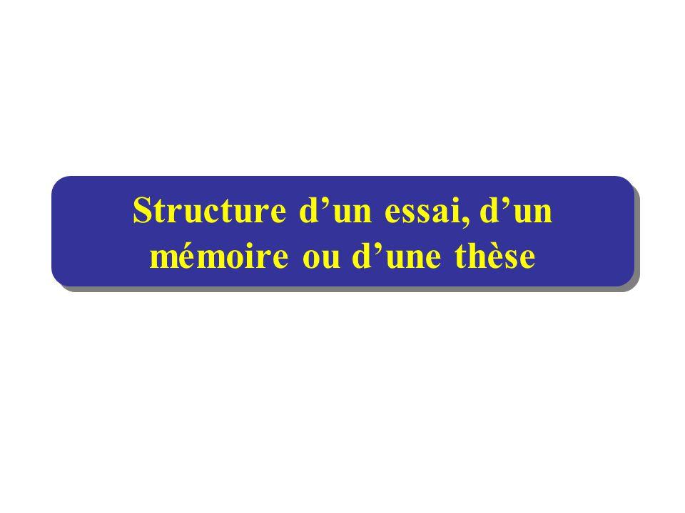Structure d'un essai, d'un mémoire ou d'une thèse