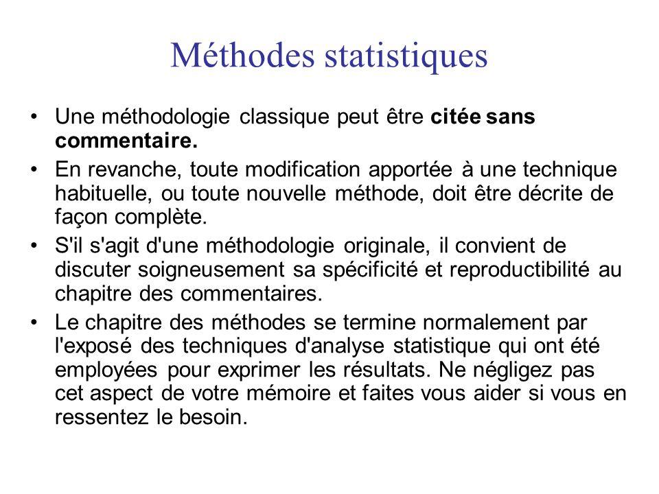 Méthodes statistiques •Une méthodologie classique peut être citée sans commentaire. •En revanche, toute modification apportée à une technique habituel