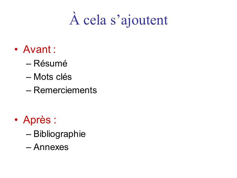 À cela s'ajoutent •Avant : –Résumé –Mots clés –Remerciements •Après : –Bibliographie –Annexes