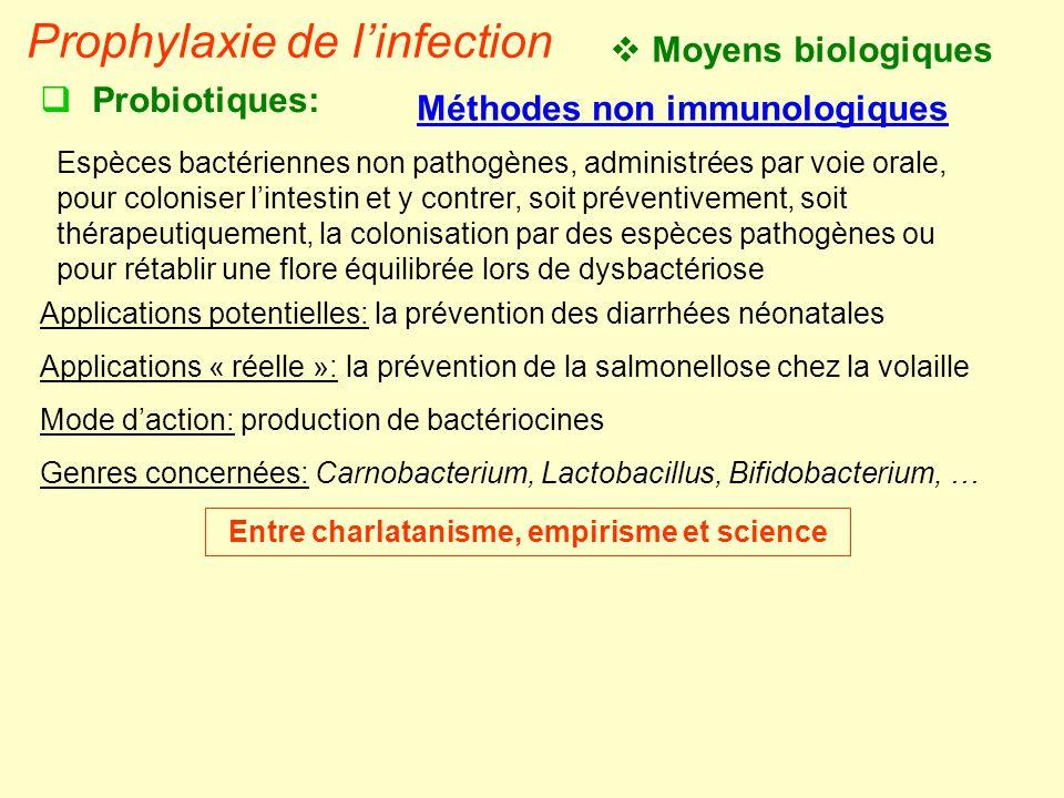 Prophylaxie de l'infection  Probiotiques: Espèces bactériennes non pathogènes, administrées par voie orale, pour coloniser l'intestin et y contrer, s