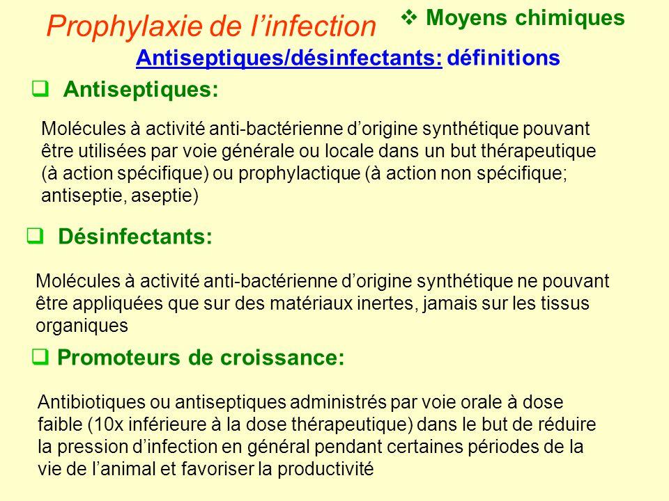 Prophylaxie de l'infection  Désinfectants: Molécules à activité anti-bactérienne d'origine synthétique ne pouvant être appliquées que sur des matéria