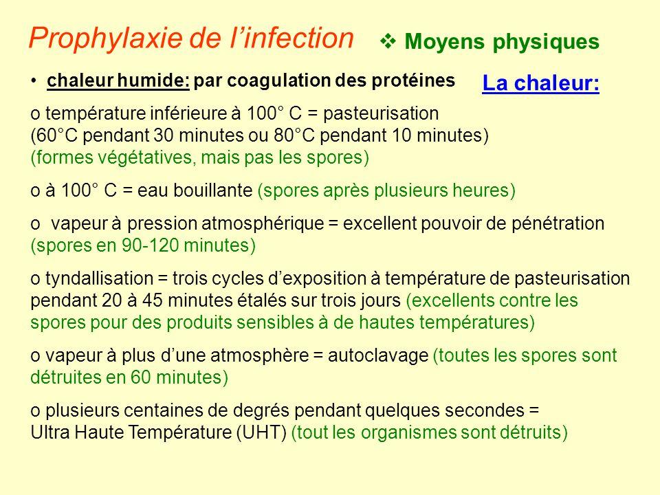 • chaleur humide: par coagulation des protéines o température inférieure à 100° C = pasteurisation (60°C pendant 30 minutes ou 80°C pendant 10 minutes