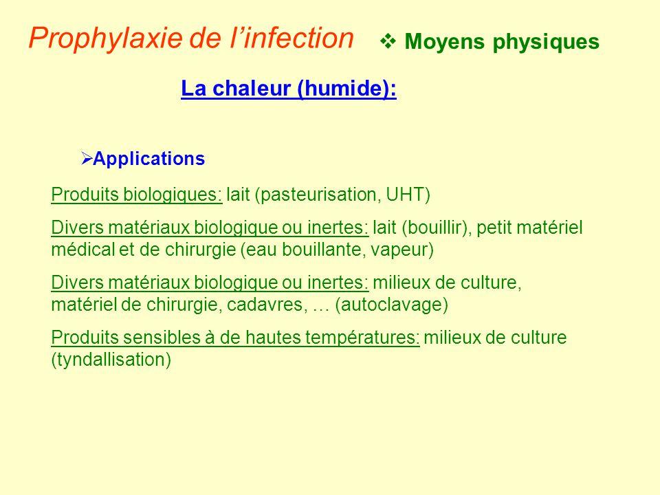  Moyens physiques Prophylaxie de l'infection La chaleur (humide):  Applications Produits biologiques: lait (pasteurisation, UHT) Divers matériaux bi