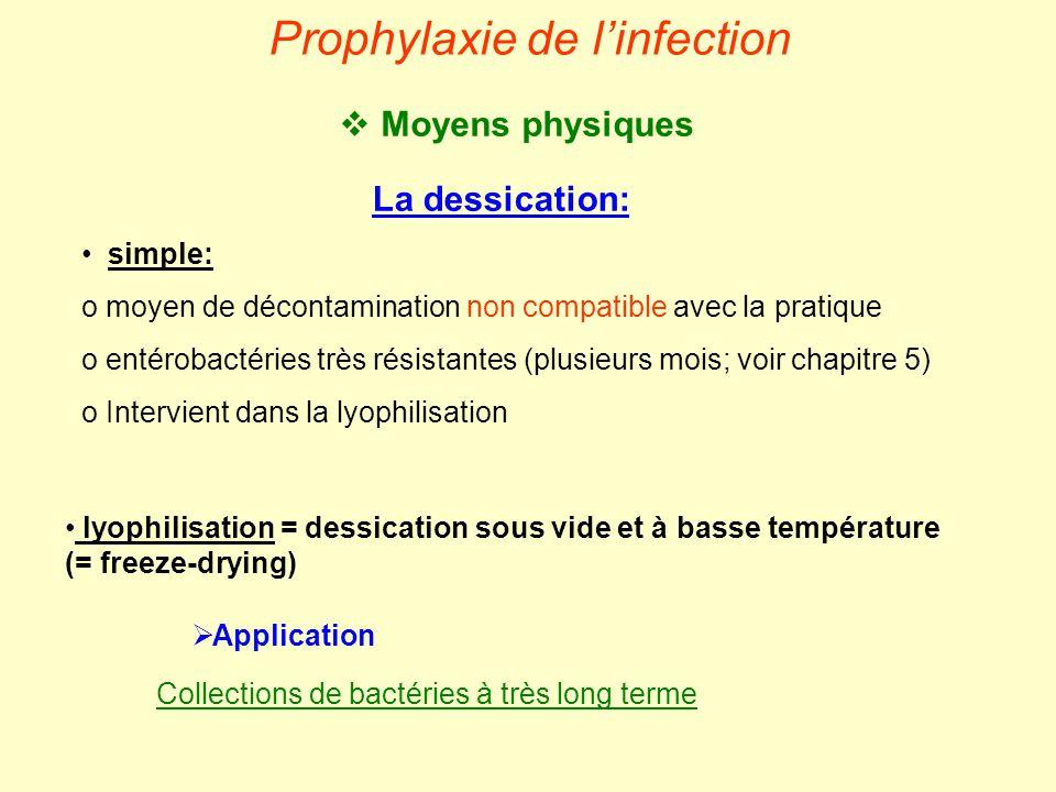  Moyens physiques Prophylaxie de l'infection La dessication: • simple: o moyen de décontamination non compatible avec la pratique o entérobactéries t