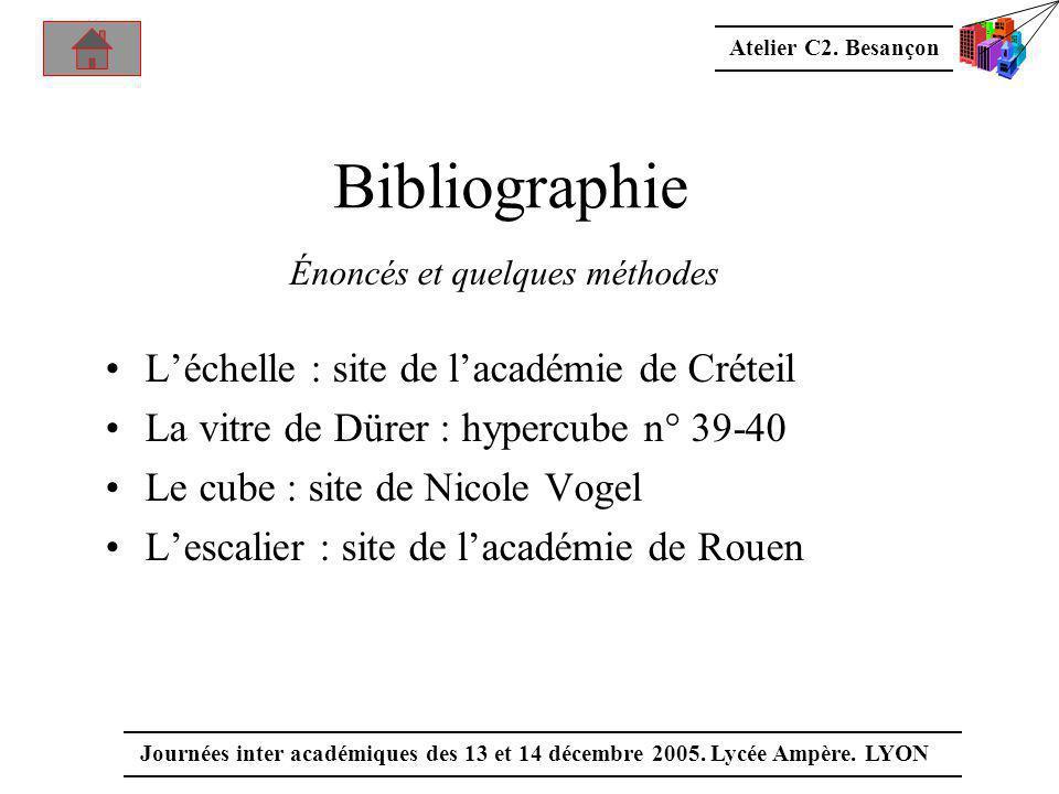 Atelier C2. Besançon Journées inter académiques des 13 et 14 décembre 2005. Lycée Ampère. LYON Bibliographie Énoncés et quelques méthodes •L'échelle :