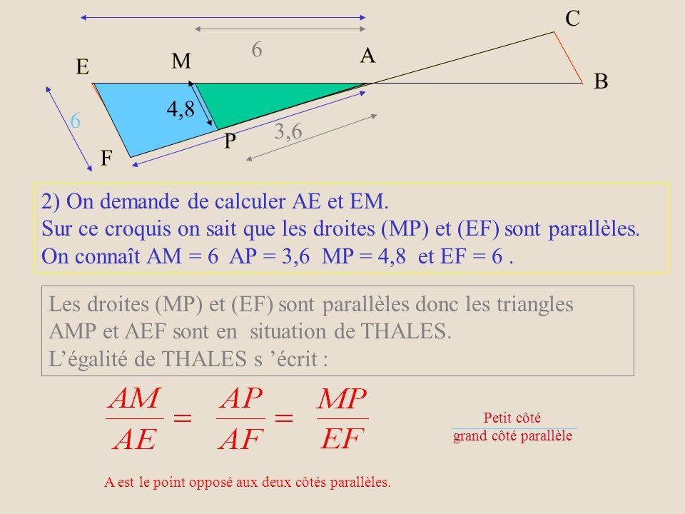 Le côté le plus long du triangle AMP est AM = 6 cm.