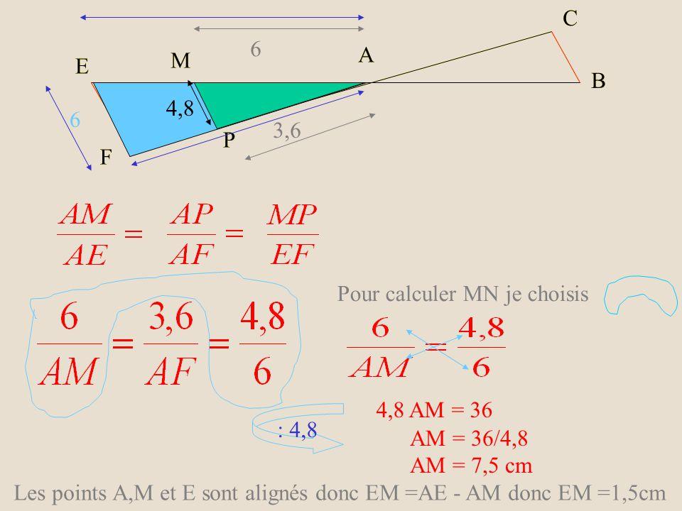 E M F P A C B E M F P A C B 6 4,8 3,6 6 Les droites (MP) et (EF) sont parallèles donc les triangles AMP et AEF sont en situation de THALES.