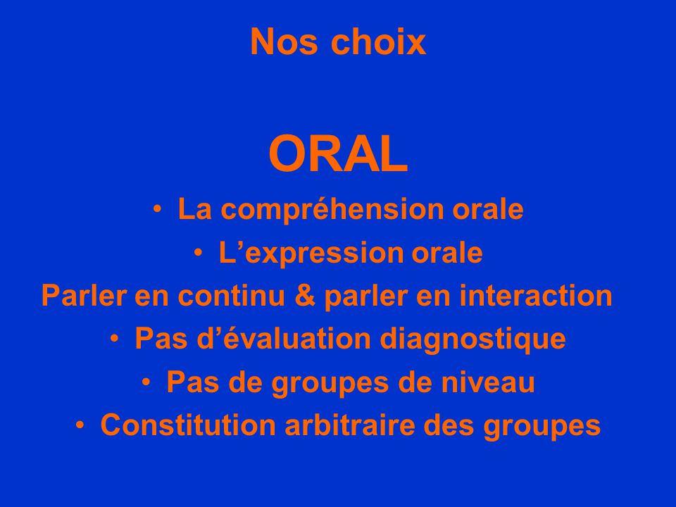 Nos choix ORAL •L•La compréhension orale •L•L'expression orale Parler en continu & parler en interaction •P•Pas d'évaluation diagnostique •P•Pas de gr