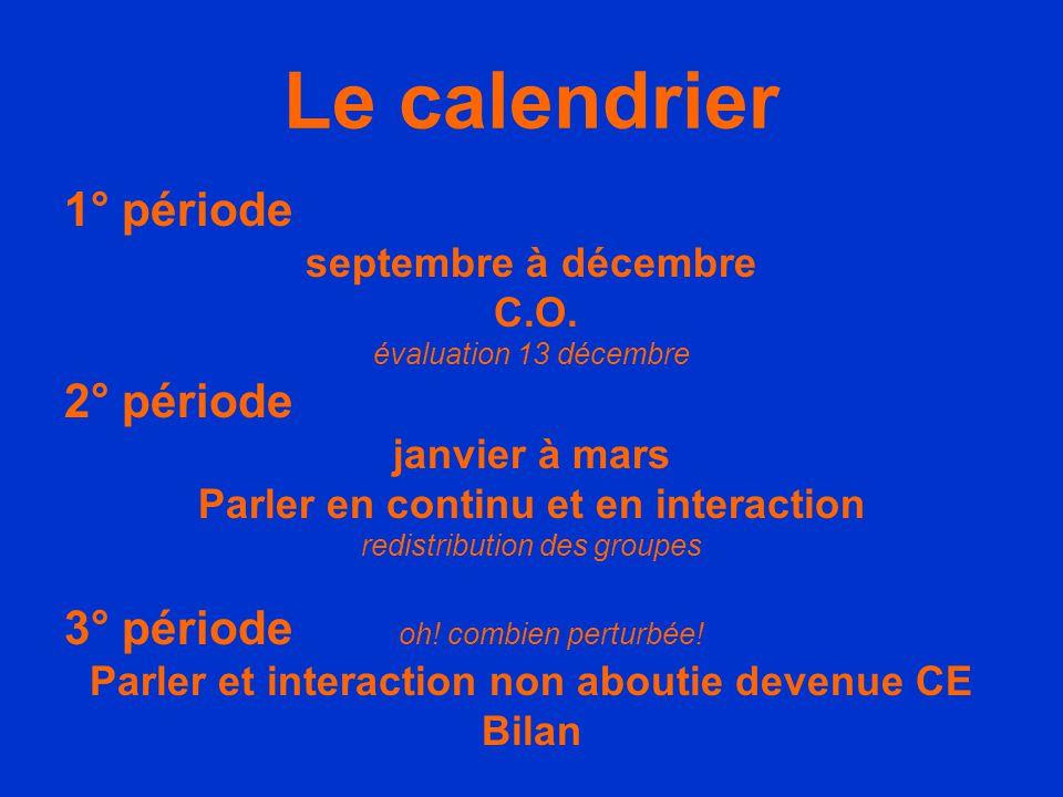 Le calendrier 1° période septembre à décembre C.O. évaluation 13 décembre 2° période janvier à mars Parler en continu et en interaction redistribution