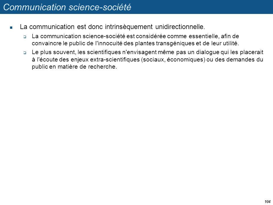 Communication science-société  La communication est donc intrinsèquement unidirectionnelle.  La communication science-société est considérée comme e