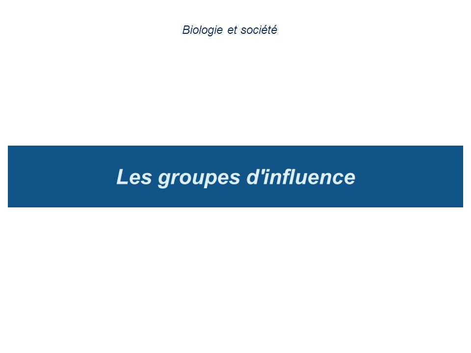 Les groupes d'influence Biologie et société