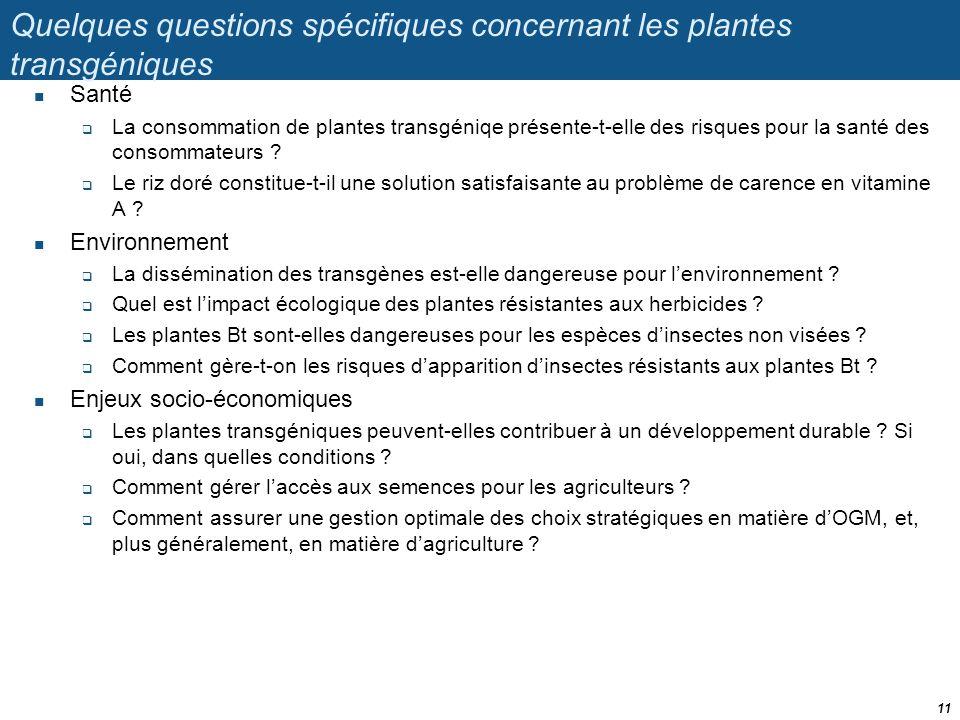 Quelques questions spécifiques concernant les plantes transgéniques  Santé  La consommation de plantes transgéniqe présente-t-elle des risques pour