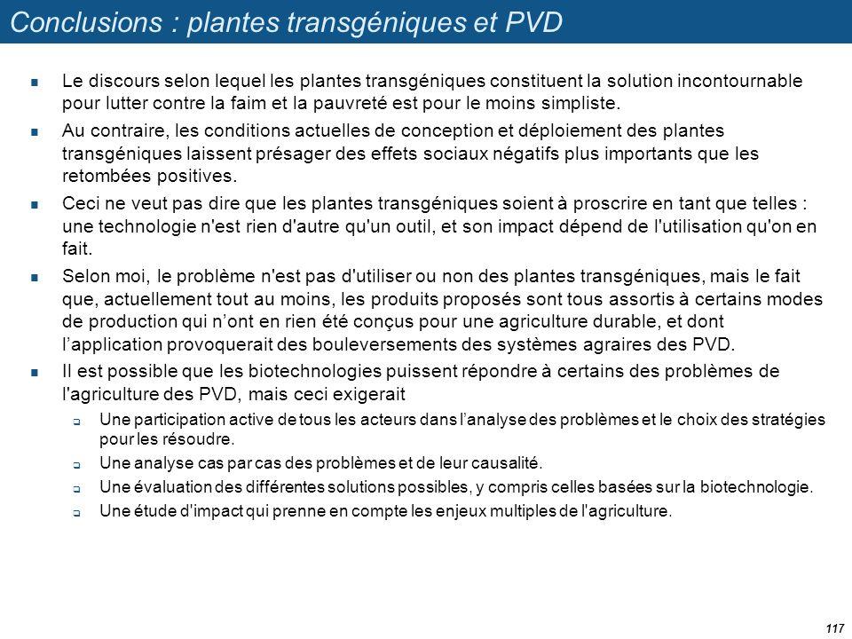 Conclusions : plantes transgéniques et PVD  Le discours selon lequel les plantes transgéniques constituent la solution incontournable pour lutter con