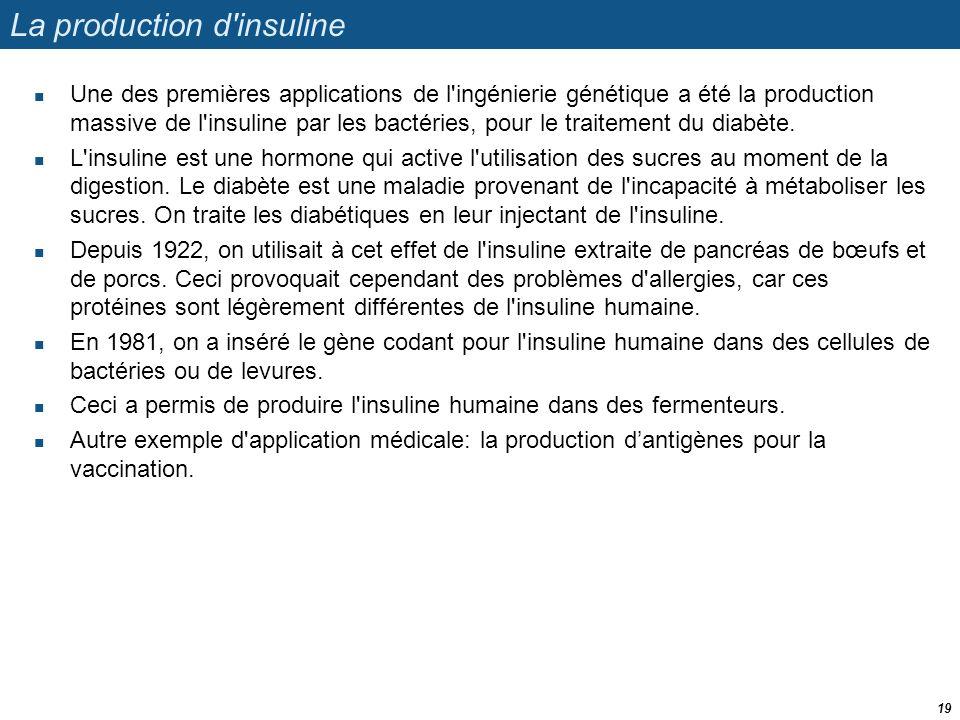 La production d'insuline  Une des premières applications de l'ingénierie génétique a été la production massive de l'insuline par les bactéries, pour