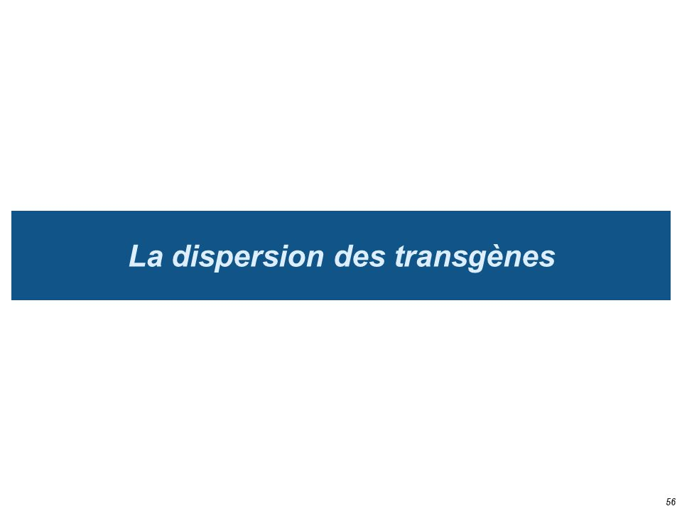 La dispersion des transgènes 56