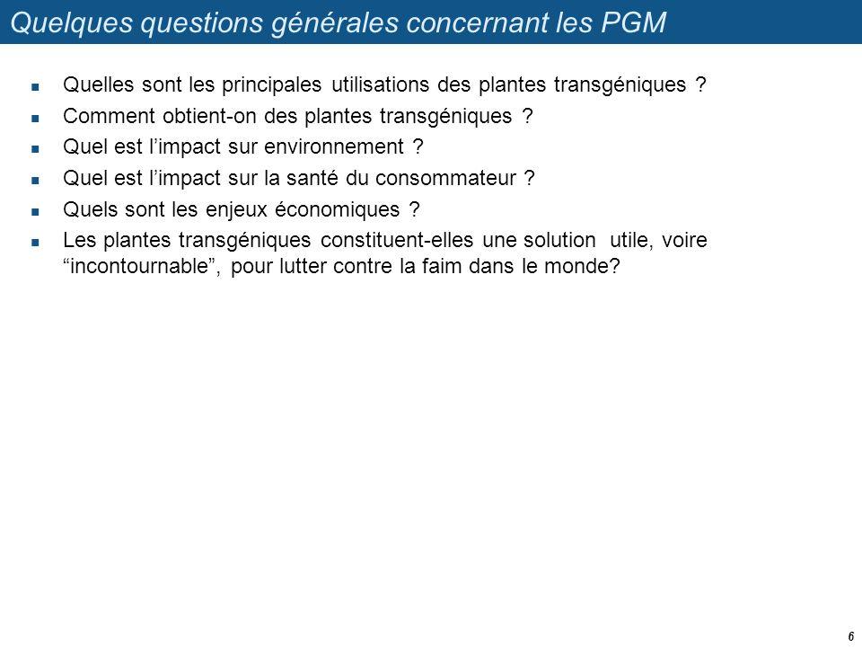 Quelques questions générales concernant les PGM  Quelles sont les principales utilisations des plantes transgéniques ?  Comment obtient-on des plant