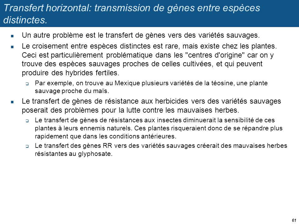 Transfert horizontal: transmission de gènes entre espèces distinctes.  Un autre problème est le transfert de gènes vers des variétés sauvages.  Le c