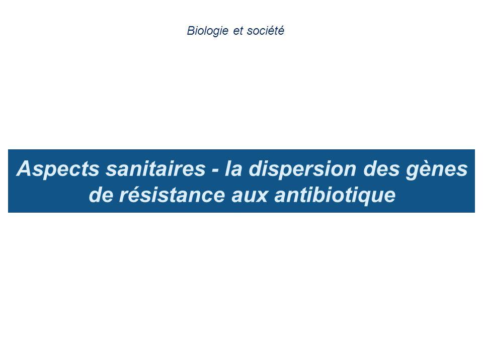 Aspects sanitaires - la dispersion des gènes de résistance aux antibiotique Biologie et société