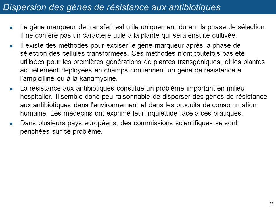 Dispersion des gènes de résistance aux antibiotiques  Le gène marqueur de transfert est utile uniquement durant la phase de sélection. Il ne confère
