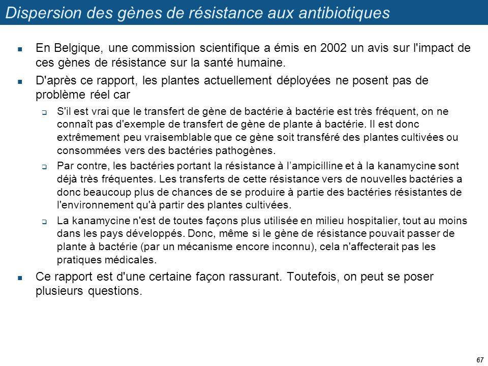 Dispersion des gènes de résistance aux antibiotiques  En Belgique, une commission scientifique a émis en 2002 un avis sur l'impact de ces gènes de ré