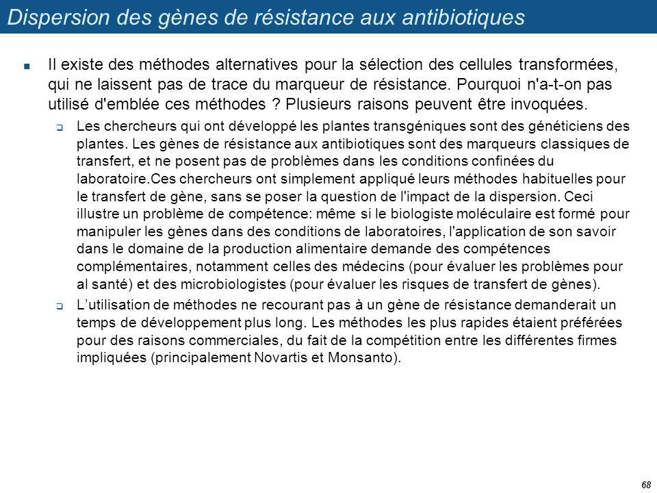 Dispersion des gènes de résistance aux antibiotiques  Il existe des méthodes alternatives pour la sélection des cellules transformées, qui ne laissen