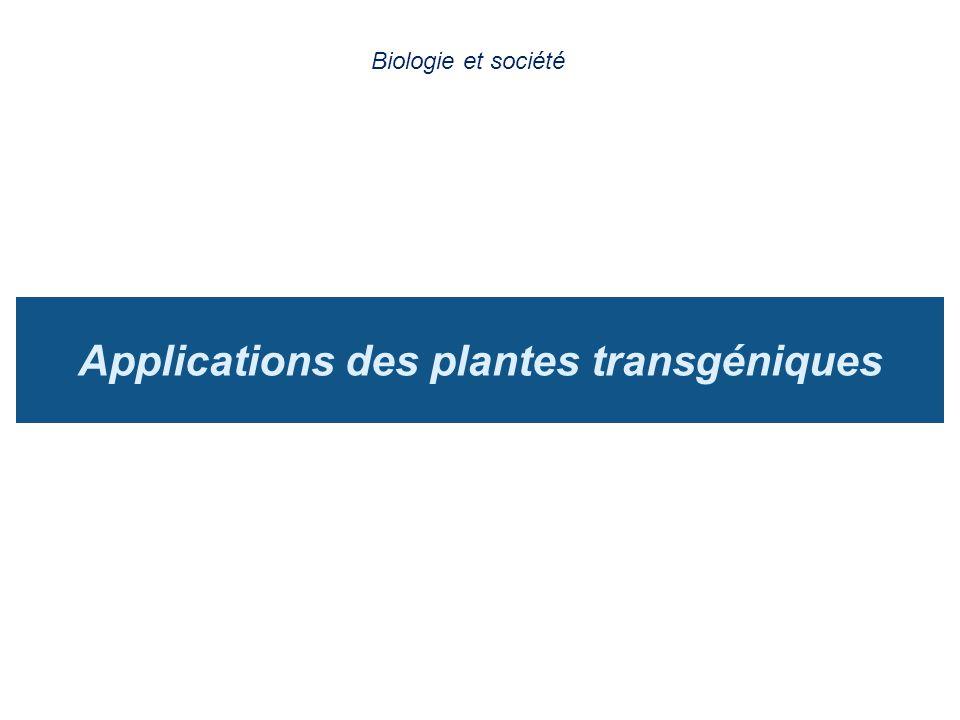 Applications des plantes transgéniques Biologie et société