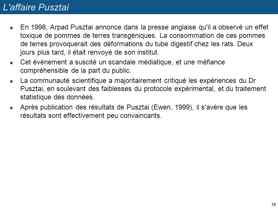 L'affaire Pusztai  En 1998, Arpad Pusztai annonce dans la presse anglaise qu'il a observé un effet toxique de pommes de terres transgéniques. La cons