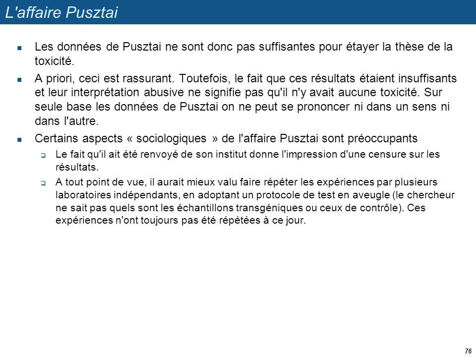 L'affaire Pusztai  Les données de Pusztai ne sont donc pas suffisantes pour étayer la thèse de la toxicité.  A priori, ceci est rassurant. Toutefois