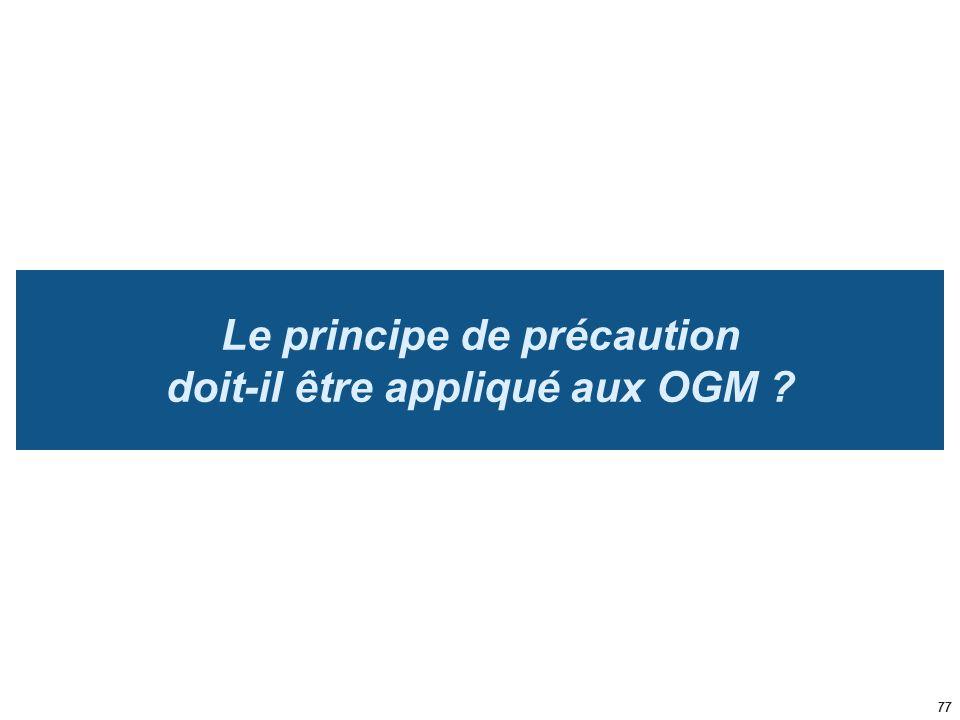 Le principe de précaution doit-il être appliqué aux OGM ? 77