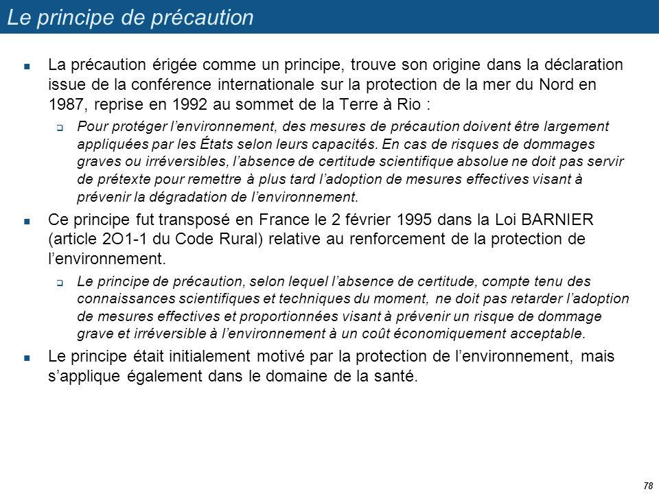 Le principe de précaution  La précaution érigée comme un principe, trouve son origine dans la déclaration issue de la conférence internationale sur l