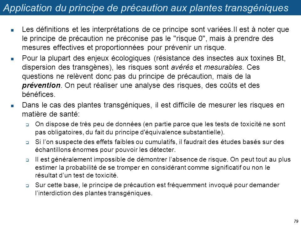 Application du principe de précaution aux plantes transgéniques  Les définitions et les interprétations de ce principe sont variées.Il est à noter qu