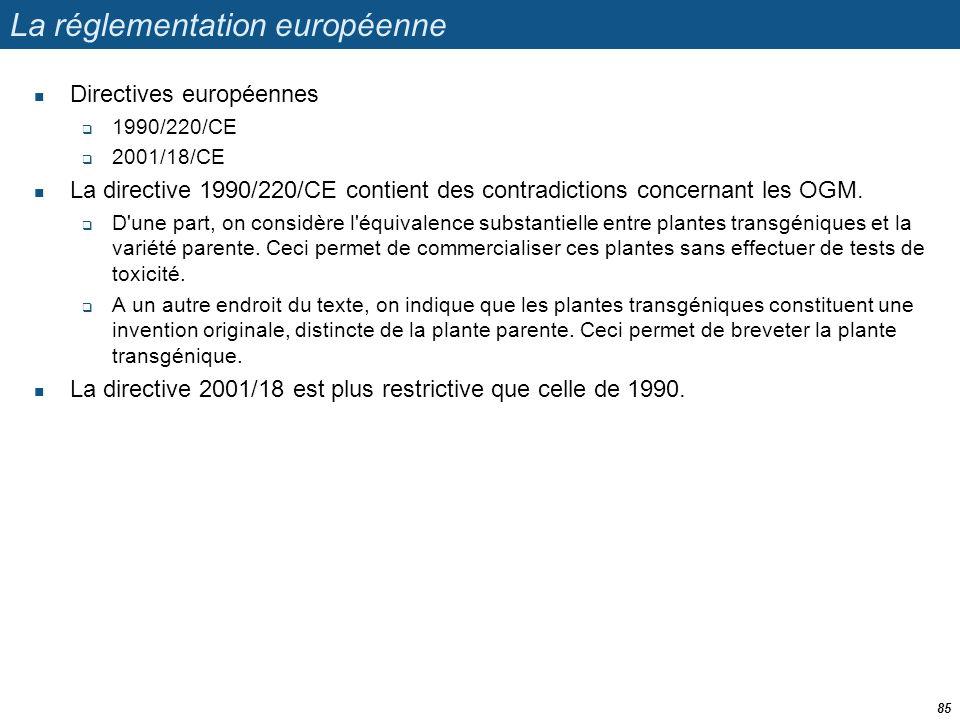 La réglementation européenne  Directives européennes  1990/220/CE  2001/18/CE  La directive 1990/220/CE contient des contradictions concernant les