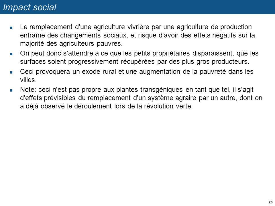 Impact social  Le remplacement d'une agriculture vivrière par une agriculture de production entraîne des changements sociaux, et risque d'avoir des e