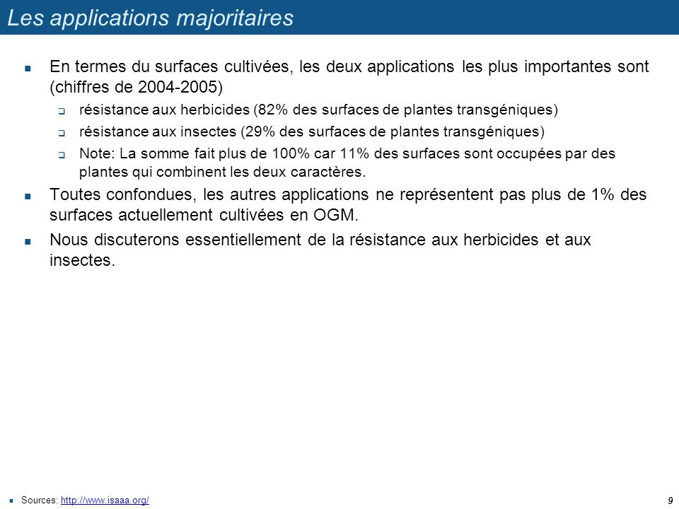 Les applications majoritaires  En termes du surfaces cultivées, les deux applications les plus importantes sont (chiffres de 2004-2005)  résistance