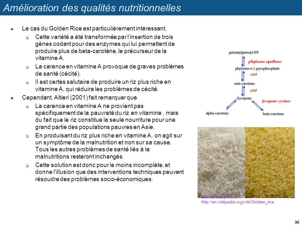 Amélioration des qualités nutritionnelles  Le cas du Golden Rice est particulièrement intéressant.  Cette variété a été transformée par l'insertion