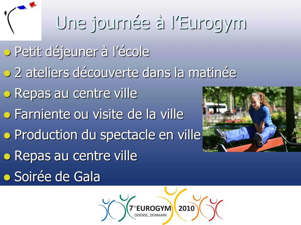 Une journée à l'Eurogym  Petit déjeuner à l'école  2 ateliers découverte dans la matinée  Repas au centre ville  Farniente ou visite de la ville 