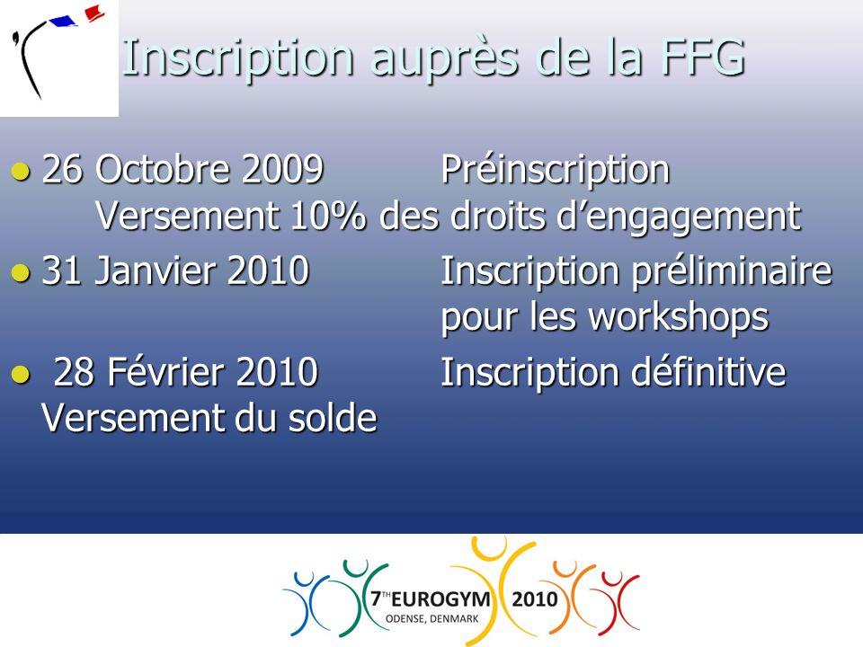 Inscription auprès de la FFG  26 Octobre 2009 Préinscription Versement 10% des droits d'engagement  31 Janvier 2010Inscription préliminaire pour les