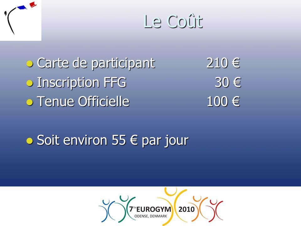 Le Coût  Carte de participant210 €  Inscription FFG 30 €  Tenue Officielle100 €  Soit environ 55 € par jour