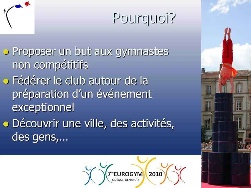 Pourquoi?  Proposer un but aux gymnastes non compétitifs  Fédérer le club autour de la préparation d'un événement exceptionnel  Découvrir une ville