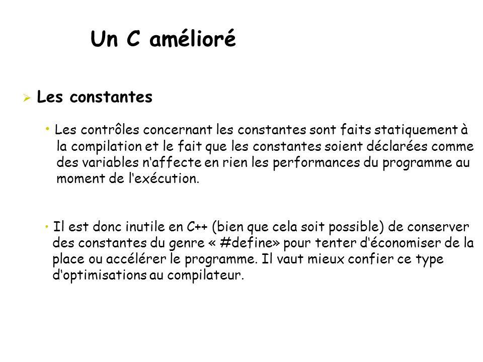 Un C amélioré  Les constantes • Les contrôles concernant les constantes sont faits statiquement à la compilation et le fait que les constantes soient