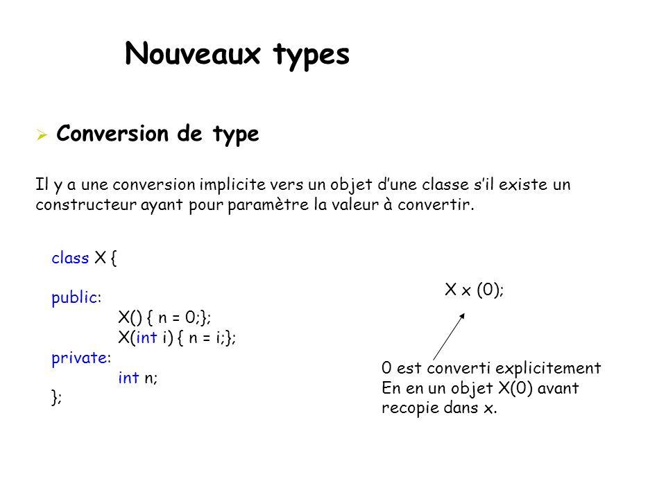Nouveaux types  Conversion de type Il y a une conversion implicite vers un objet d'une classe s'il existe un constructeur ayant pour paramètre la val