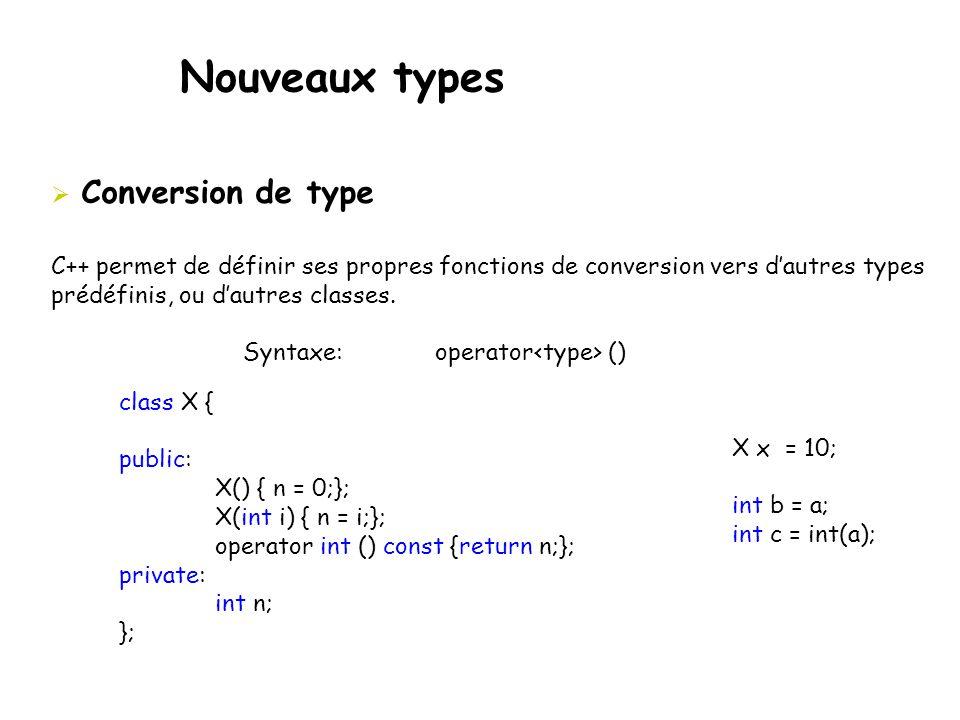 Nouveaux types  Conversion de type C++ permet de définir ses propres fonctions de conversion vers d'autres types prédéfinis, ou d'autres classes. Syn