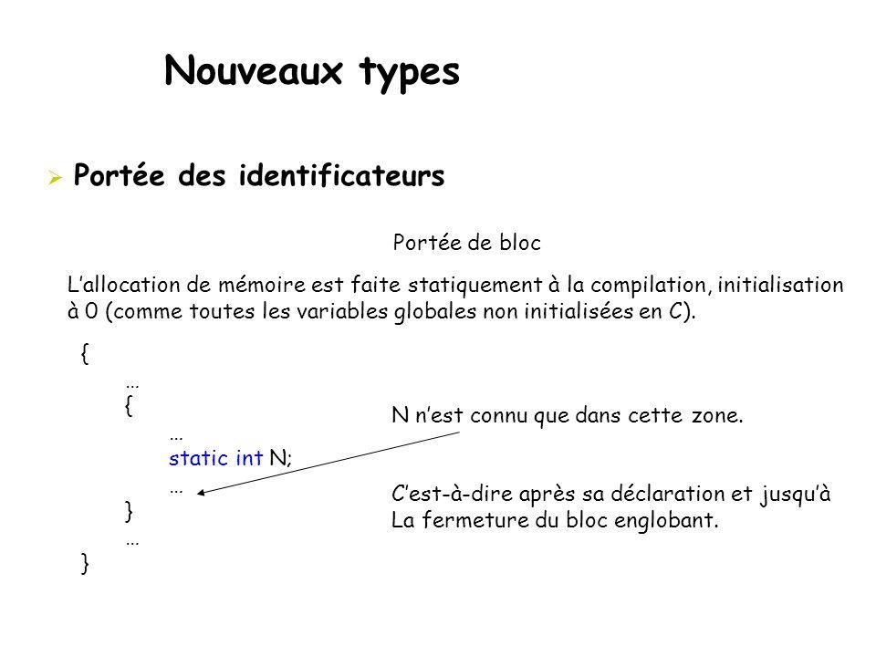 Nouveaux types  Portée des identificateurs Portée de bloc { … { … static int N; … } … } N n'est connu que dans cette zone. C'est-à-dire après sa décl