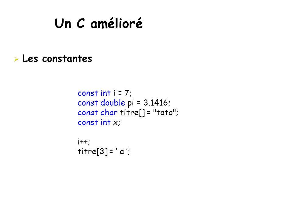Un C amélioré  Les constantes const int i = 7; const double pi = 3.1416; const char titre[] =