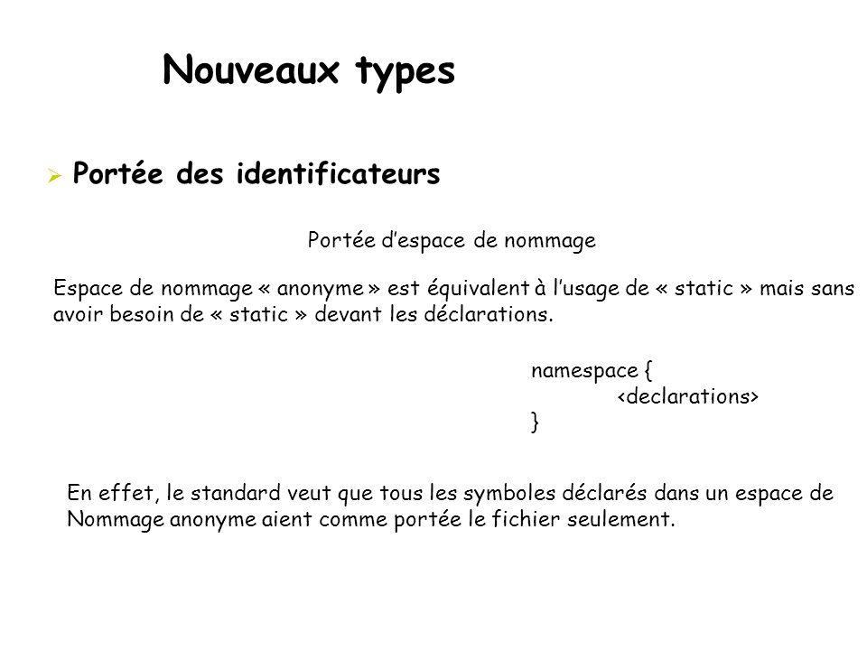 Nouveaux types  Portée des identificateurs Portée d'espace de nommage Espace de nommage « anonyme » est équivalent à l'usage de « static » mais sans