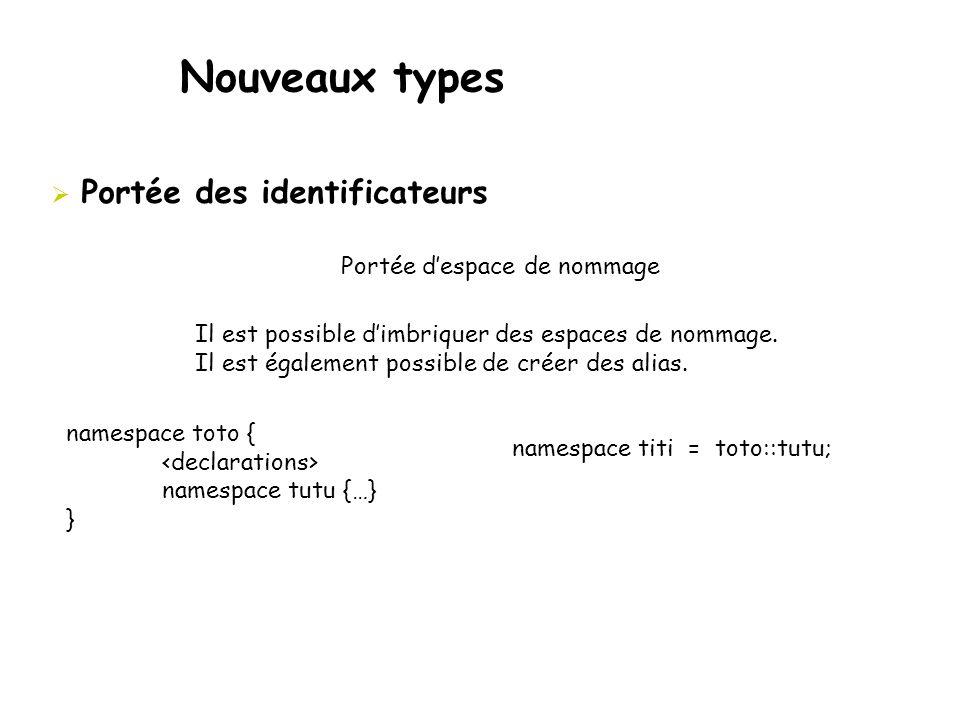 Nouveaux types  Portée des identificateurs Portée d'espace de nommage Il est possible d'imbriquer des espaces de nommage. Il est également possible d